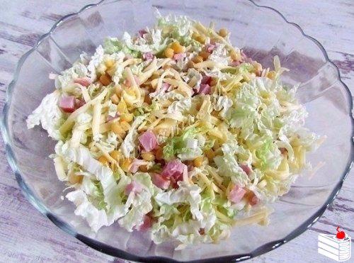Рецепты салатов с пекинской капусты и ветчины