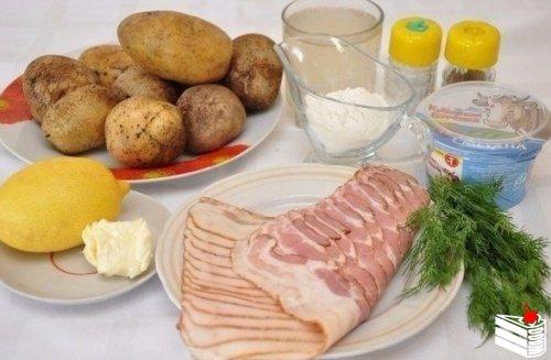 Картошка в беконовой «одёжке».Ингредиенты: