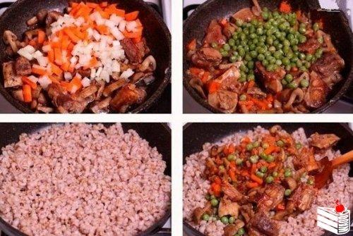 Перловая каша с мясом, грибами и овощами.