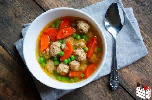 Прозрачный суп с фрикадельками.