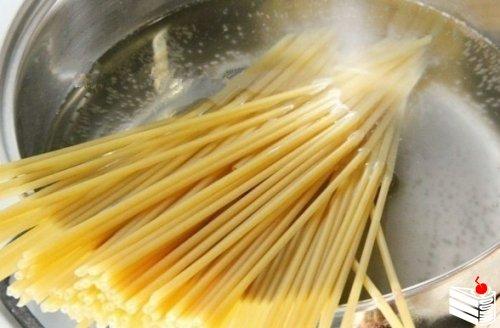 Спагетти с грибами в сливочном соусе.