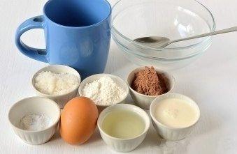 Как приготовить шоколадный кекс за 5 минут в микроволновке.