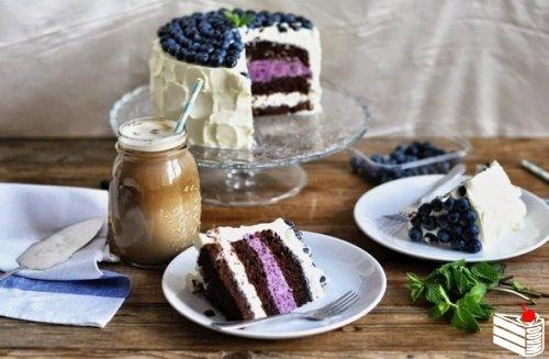Шоколадный торт с черничным муссом.