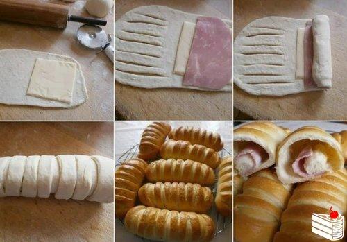 Слоеное тесто, ветчина и сыр.