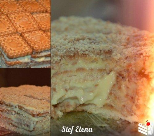 Быстрый торт из печенья с заварным кремом