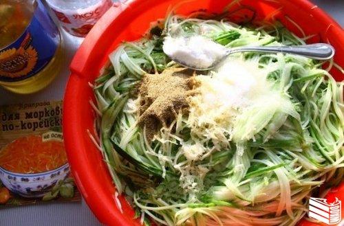 """Салат на зиму """"Огурцы по-корейски с морковью""""."""