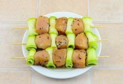 Куриные шашлычки с кабачками.