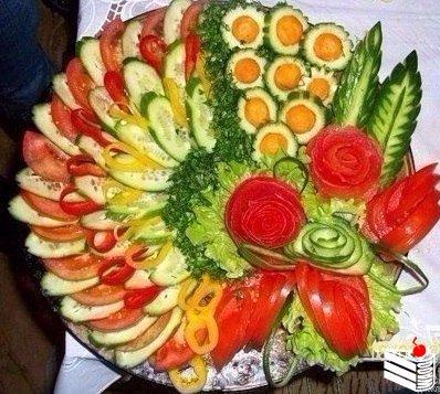 Оформление овощных закусок.