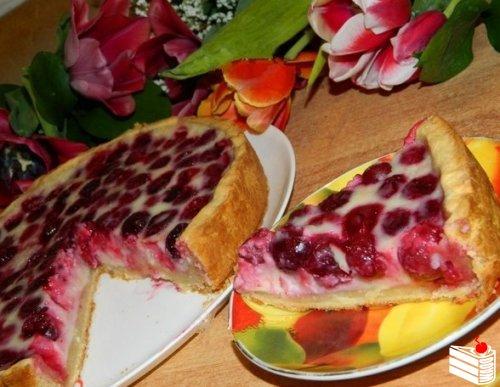 Вишнёво-творожный пирог.