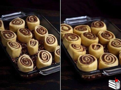 Липкие булочки с корицей и грецкими орехами.