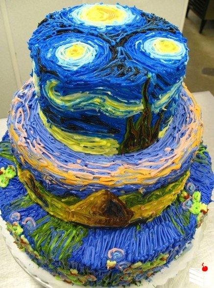 Торт по мотивам картины Ван Гога «Звездная ночь»