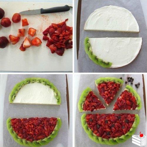 """Идея десерта: фруктовая пицца """"Арбуз"""""""