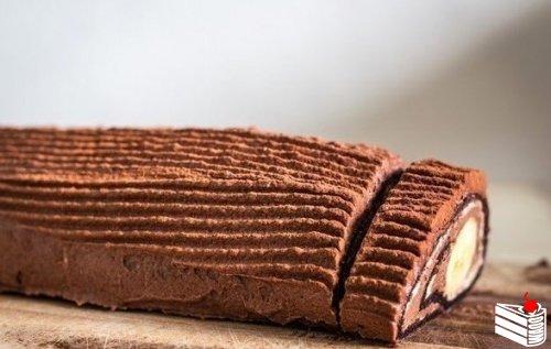 Шоколадно-банановый рулет за 30 минут
