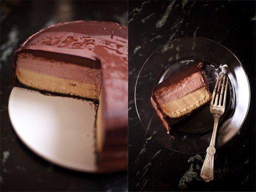 Двухслойный чизкейк с желе в шоколадной глазури